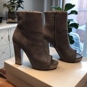 Allsaints heeled open-toe gray boots size 39.